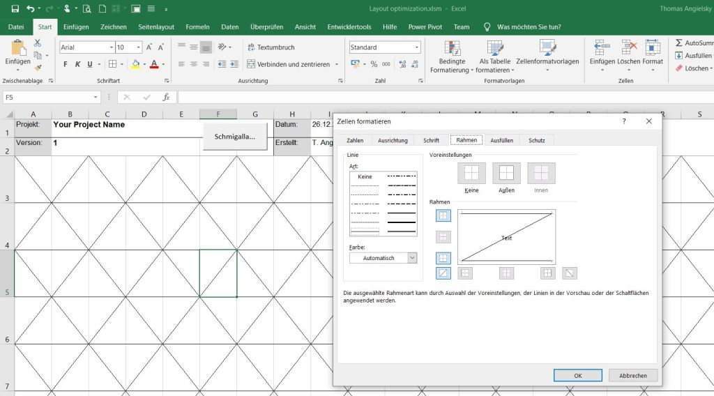 Triangle grid generated with Excel frame formatting for Schmigalla