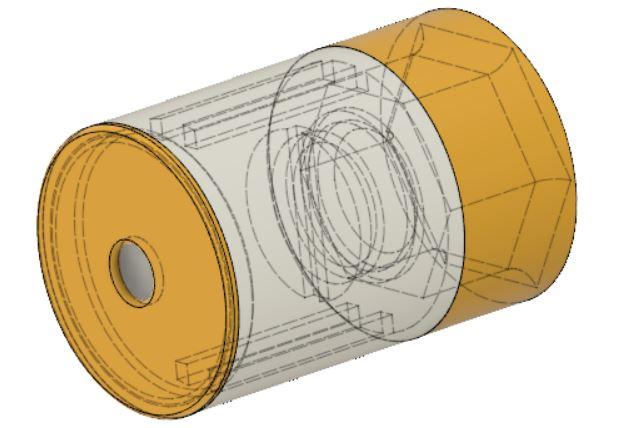 Halterung für Gyro-Sensor mit Deckel und Anschluss an die Drehachse der Bohrmaschine
