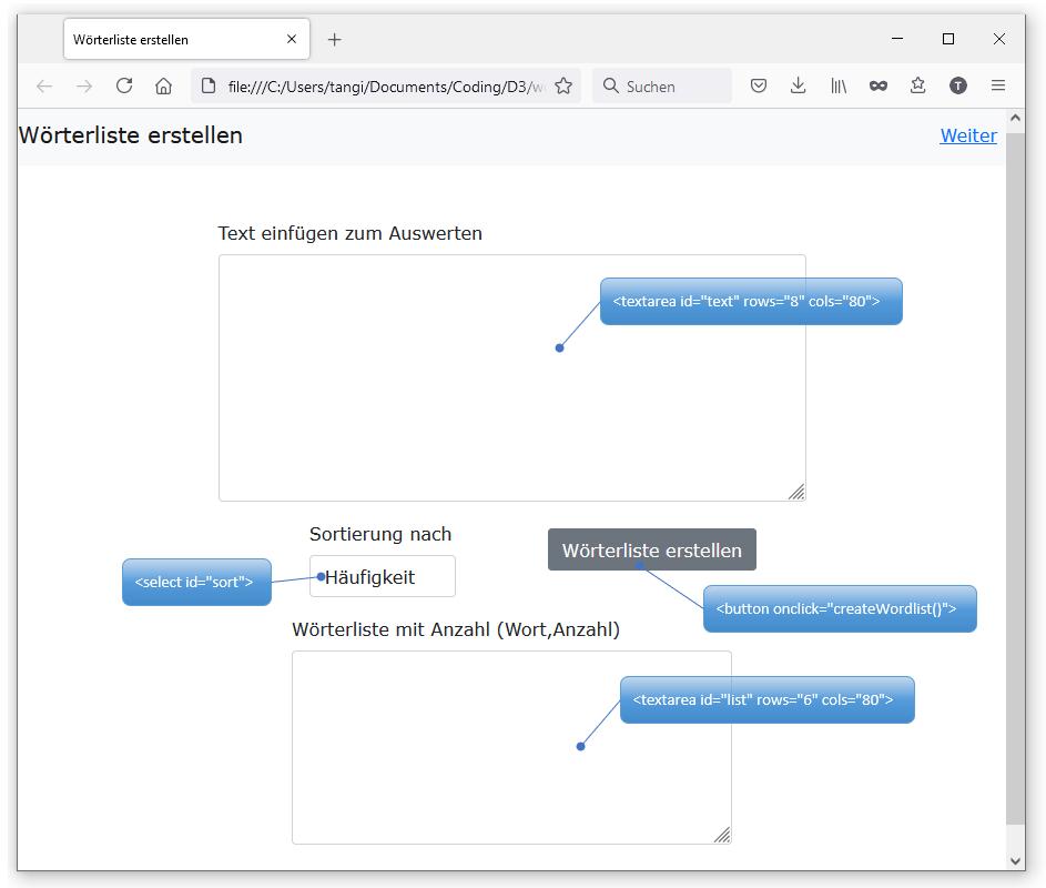 Tool Wörterliste erstellen für Word Cloud im Büro