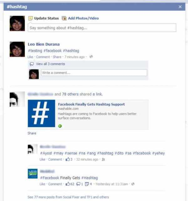 facebook hashtag example
