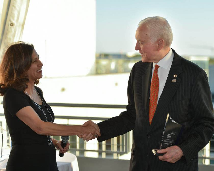 BSA President and CEO Victoria Espinel thanks Sen. Orrin Hatch.