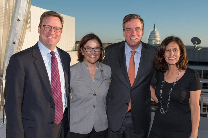 From left to right: BSA Vice President of Legislative Strategy Craig Albright, Congresswoman Suzan DelBene, Senator Mark Warner, and BSA President and CEO Victoria Espinel.