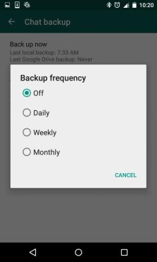 Choose Whatsapp Chat Backup Frequency - Daily, Weekly or Monthly
