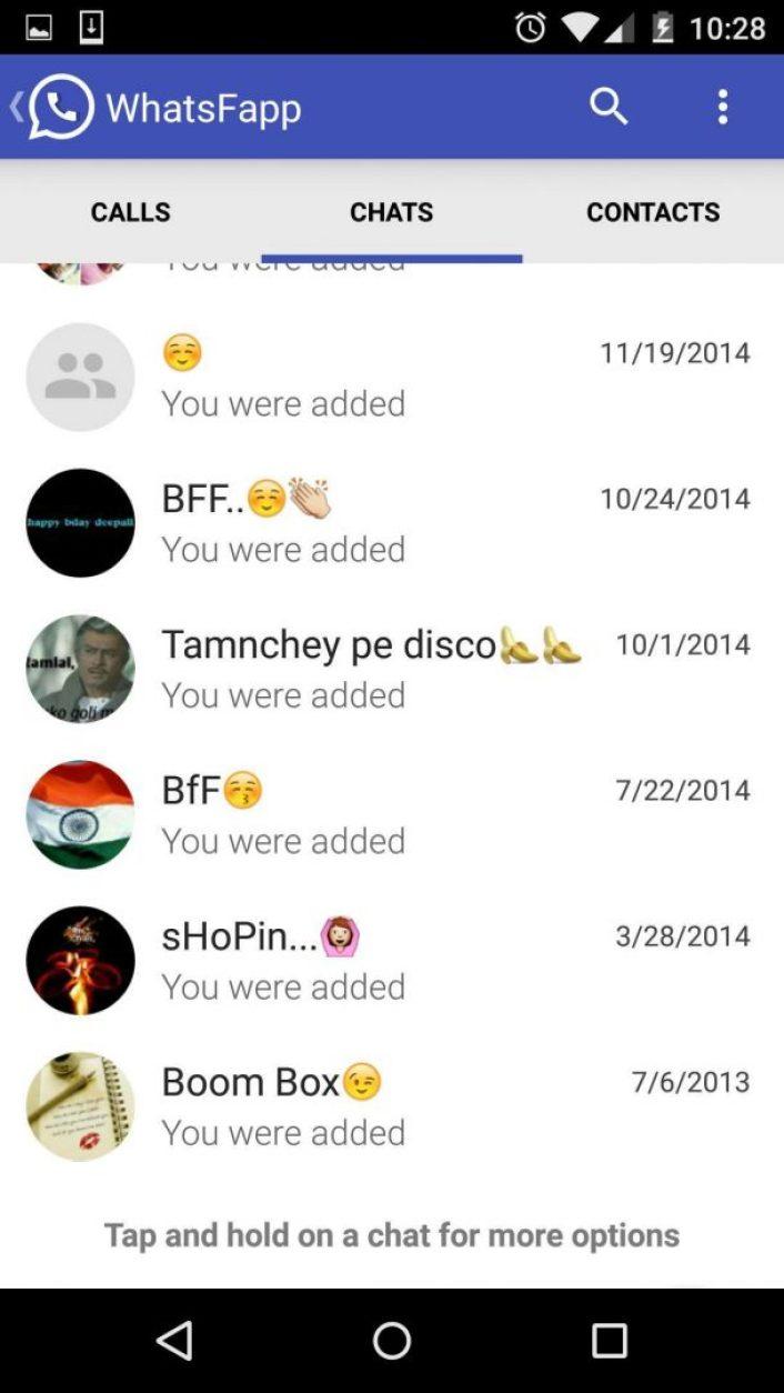Homescreen of Whatsfapp -Techposts