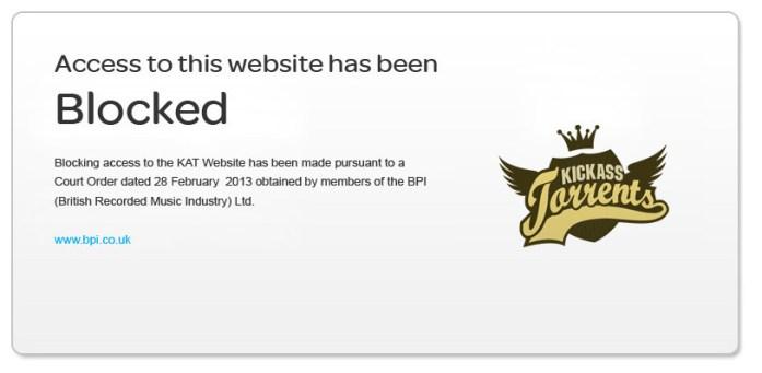 Blocked Torrent site error message