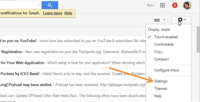 Go to setting in Gmail