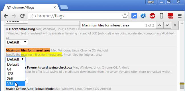 Google Chrome: Maximum tiles for interest area (Choose 512 from drop down menu)