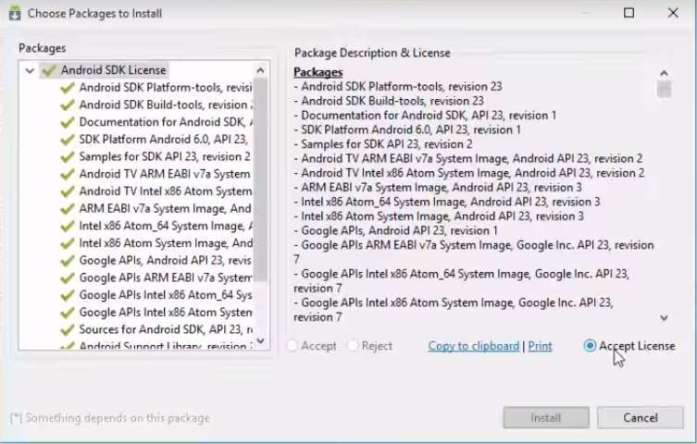 Android SDK Package installation