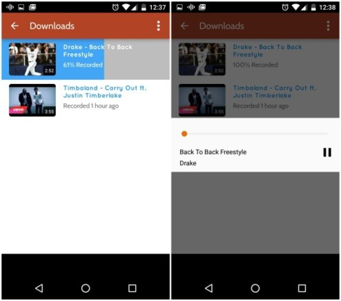 Songs downloaded and Played via Peggo App for Android