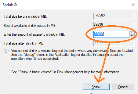 Enter Disk Size to create New HD Partition