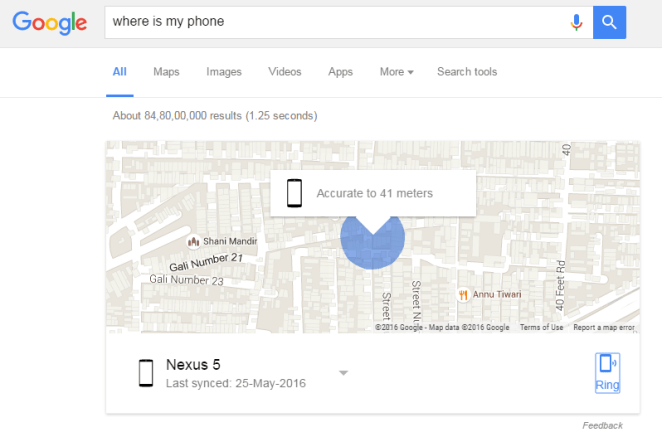 Search - Where is My Phone or Android on Google Search