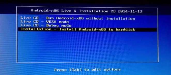 Select Installation - Androidx86 to hard Disk Drive
