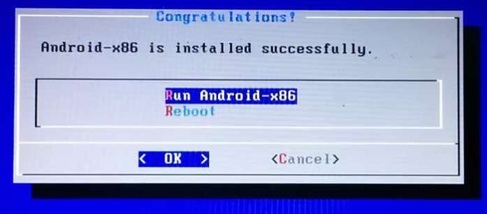 Android is Installed on External Hard Disk Drive and Reboot now