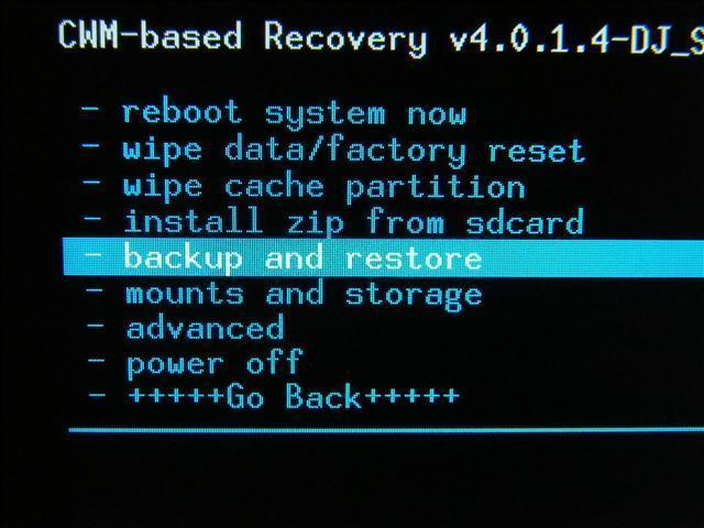 CWM Custom Recovery Nandroid Backup and restore