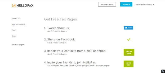 Share to get more fax pages and send more fax using hellow Fax