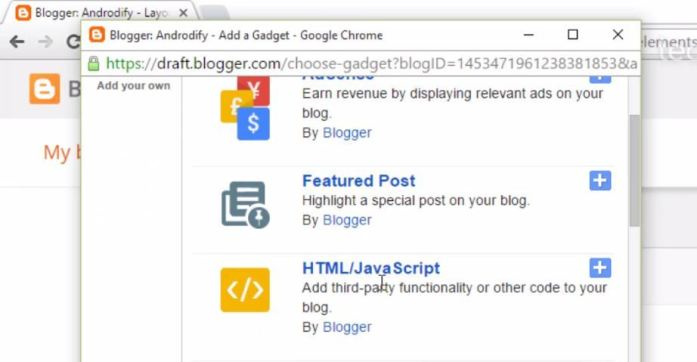 Add HTML/Javascript Gadget in Blogger