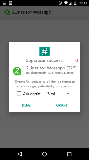 Grant Root access for Multiple Whatsapp accounts