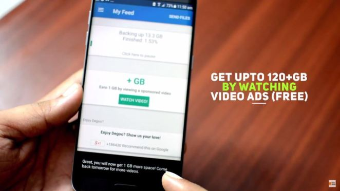 Earn Extra GB Storage for watching ads