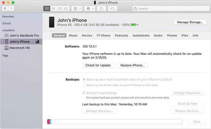 iPhone backup on Mac