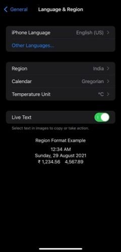 включение Live Text в iOS 15