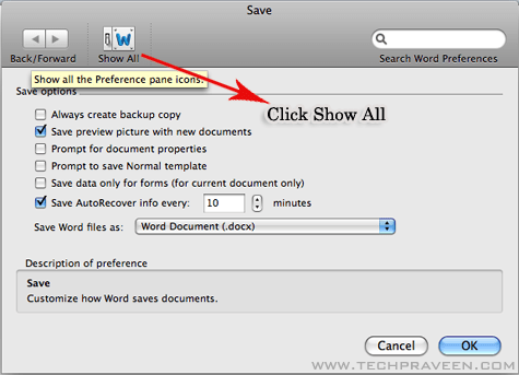 Microsoft Word doc 2011 Show All Options