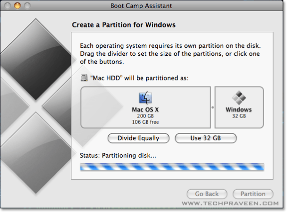 Set Windows Partition and Click Partition Button