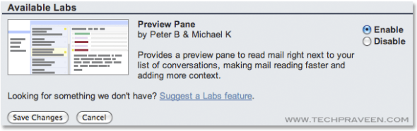 Gmail Labs Preview Pane