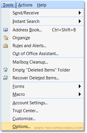 MS Outlook 2007 Click Options