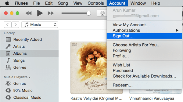 iTunes Account Signout