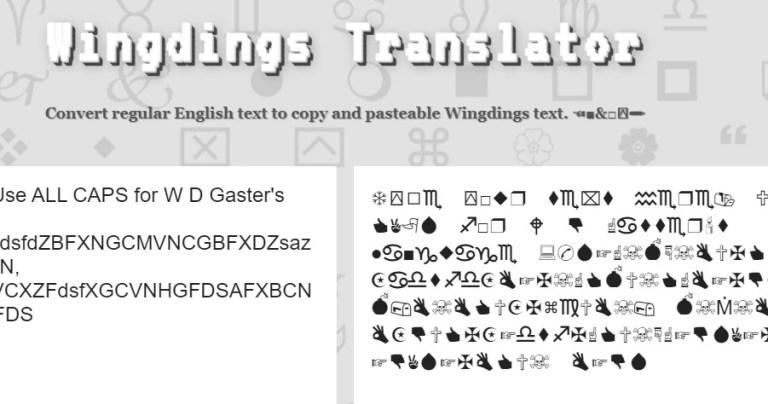 WINGDING TRANSLATOR