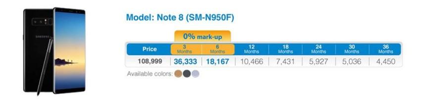 Galaxy Note 8 UBL Installment Plans