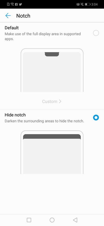 Huawei Nova 3i Notch Handling