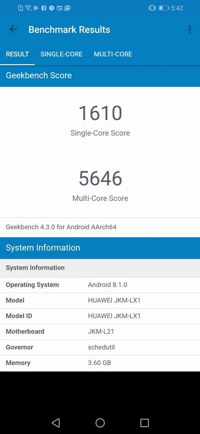 Huawei Y9 2019 Geekbench Benchmark