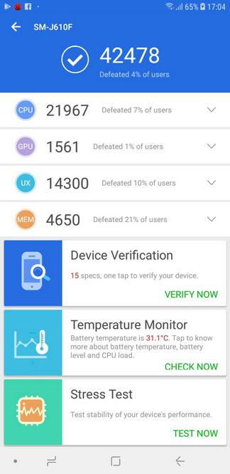 Samsung Galaxy J6+ AnTuTu Benchmark