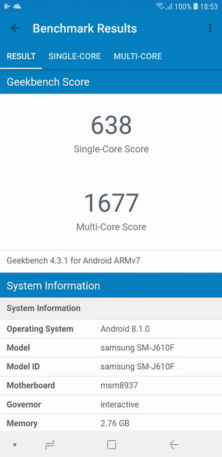Samsung Galaxy J6+ Geekbench Benchmark