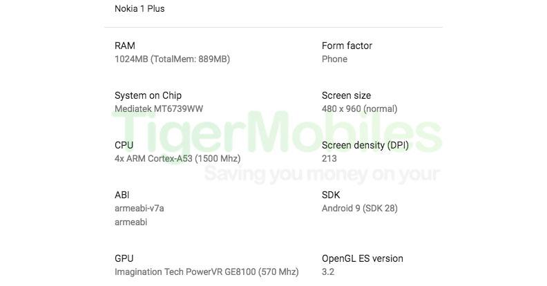 Nokia 1 Plus Specs