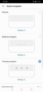 Huawei Y7 Prime 2019 Navigation Options