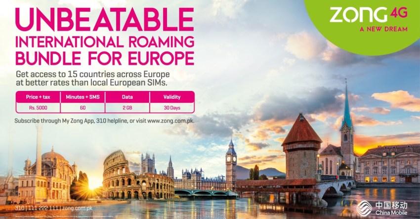 Zong 4G Europe Roaming