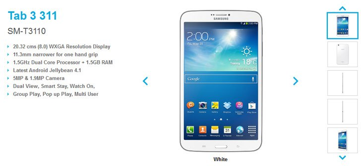 8-inch Galaxy Tab 3 311 (3G variant) and 310 (WiFi only) launched in India