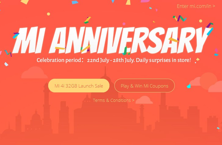It's first anniversary for Mi India; Announces the 32GB version of Mi4i and Mi Store App