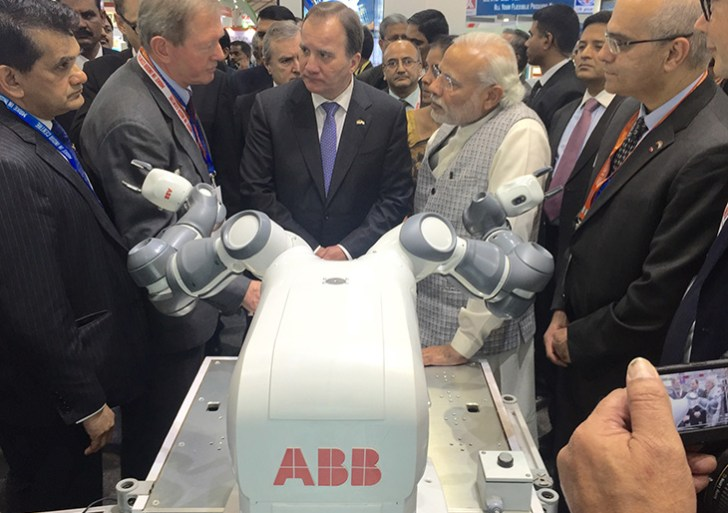 ABB brings its dual-armed robot  YuMi to the Make In India event