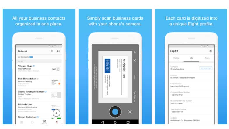 Eight app business card organizer review not just an ordinary card business card management services has launched eight app its business card organizer and professional networking app in india reheart Images