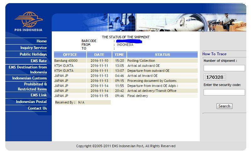 Tracking paket menggunakan EMS Indonesia