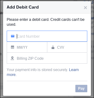 debit card fb