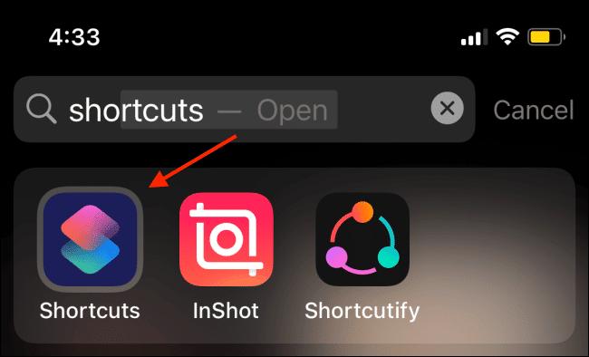 Open Shortcuts App Using Spotlight On Iphone