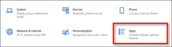 Windows Settings Click Apps
