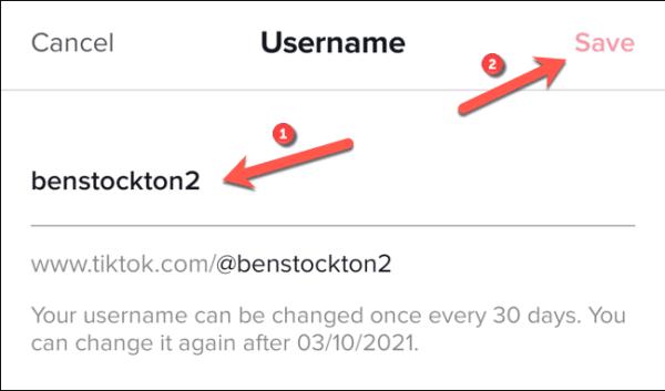 Tiktok Change Username Menu