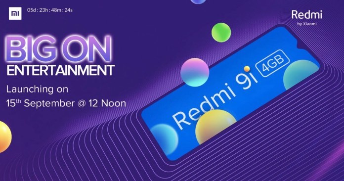 Redmi 9i is all set to launch in India on September 15