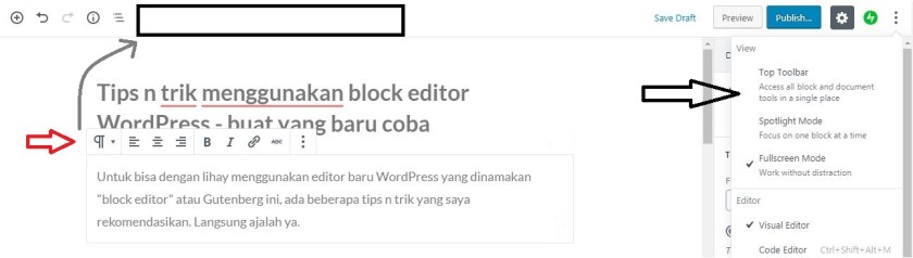 Moving toolbar the top on WordPress block editor