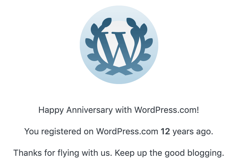 Happy 12 anniversary with WordPress.com
